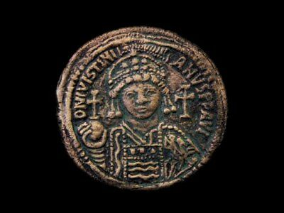 Nice Terracotta Fridge Magnet Depicting Byzantine Coin Of Justinian I !!!