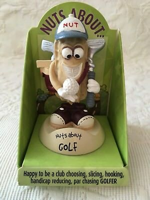H&H History and Heraldry Nuts About Golf Golfer Gift Mini Peanut Bobble Head