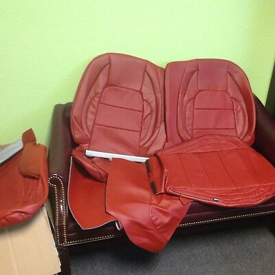Marvelous Katzkin Red Leather Int Seat Covers Fit 2015 2018 Ford Andrewgaddart Wooden Chair Designs For Living Room Andrewgaddartcom