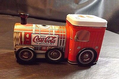 Metal Train With Coca Cola Design Storage Tin 7 Inches Long