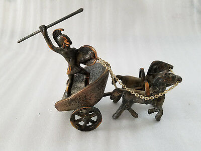 Vintage Solid Bronze Ancient Greek Spartan Warrior On Chariot Figurine