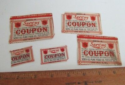 Vintage SERV-US Pure Food Chicago Illinois  Coupons