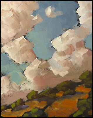 W HAWKINS Art Oil Painting Original Rose Clouds California Impressionist Western