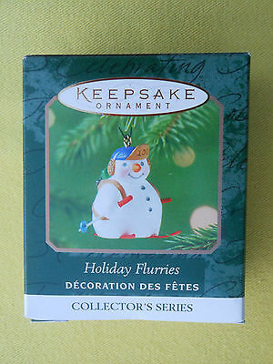 HALLMARK 2001 Snowman on Skis HOLIDAY FLURRIES Series #3 MINIATURE ORNAMENT-NIB