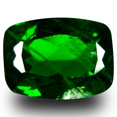 1.39 ct AAA+ Magnificent Cushion Shape (8 x 6 mm) Green Chrome Diopside Gemstone