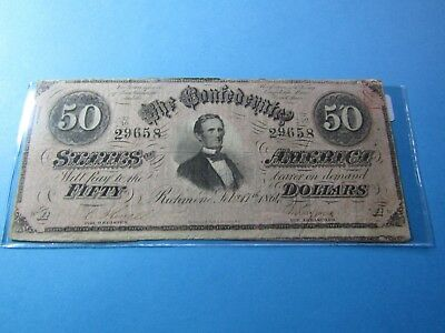 "1864 $50 Confederate States Note #1 - ""Jefferson Davis"" - VF"