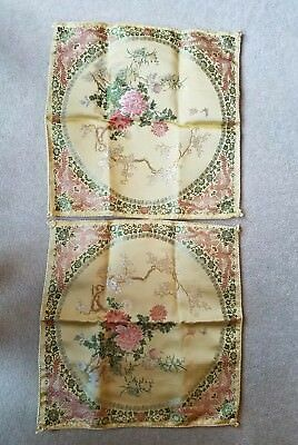 """Set of 2 New Chinese Silk Embroidered Pillowcase 18"""" square Vintage"""