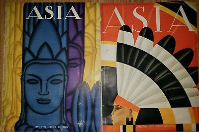 Lot of 2 Art Deco Vintage Asia Magazine Frank McIntosh Covers may 1927, Jan 1929