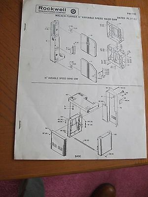 WALKER TURNER 16in. VARIABLE SPEED  BAND SAW ASSEMBLY&PARTS MANUAL INSTRUCTIONS