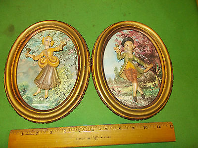 Beautiful Pair Of Mounted Italian  Empire  Figurine Wall Hanging Plaques