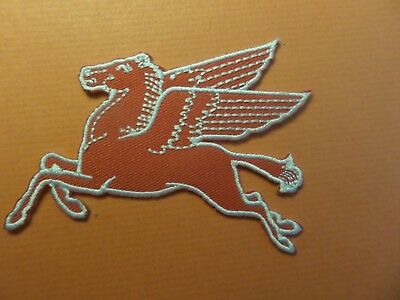 "Mobil Oil ""horse"" Embroidered Iron On Patches 2-1/2 X 3-1/4"
