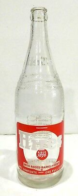 Vintage Hires Since 1876 Root Beer With Roots, Bark, Herbs 1 Quart Glass Bottle