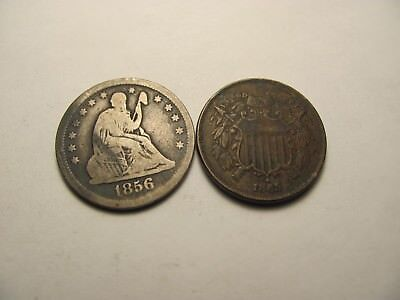 1856 90% Silver Seated Liberty Quarter & 1865 2 Cent Piece Full IN GOD WE TRUST!