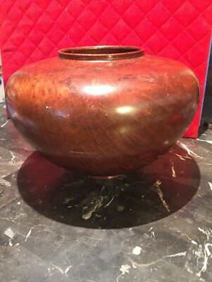 VINTAGE CALIFORNIA REDWOOD FOOTED BOWL VASE 8 Inches Tall