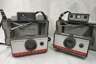 2 x Vintage Polaroid Automatic Land Camera, 104 &  220 Collectable, Untested.