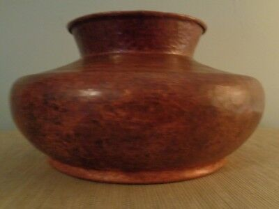 Large Hammered Copper Arts Crafts Style Vessel Patina