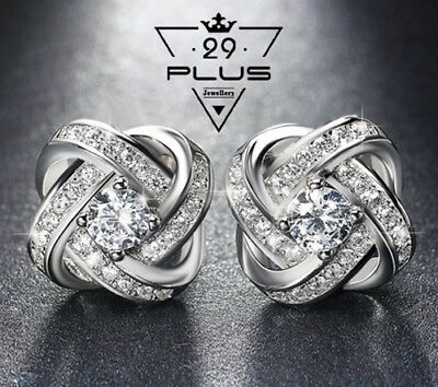 Classic 18K White Gold Filled Clear Zirconia Crystal Knot Stud Earrings Gift