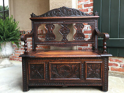 Antique English Carved Oak Hall Bench Lift Top Chest Blanket Toy Box Farmhouse