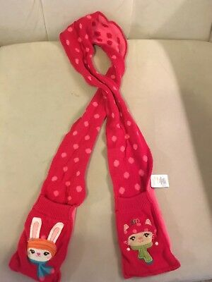 Gymboree One Size Winter Scarf with Animals Pocket for hands