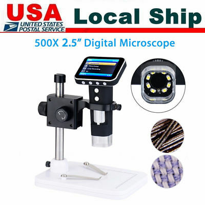 500X HD Portable USB Digital Microscope Camera with 3.5'' LCD Screen + Stand US