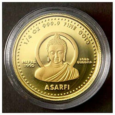 VS2052(1995) Nepal 1/4-Oz. Asarfi Lord Buddha GOLD Proof