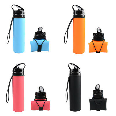 Portable 600ML Collapsible Folding Water Bottle Silicone Kettle Outdoor Sports
