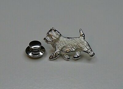 Small Sterling Silver Cairn Terrier Moving Study Lapel Pin