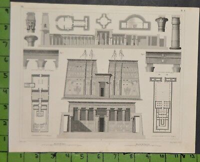 Ancient Egyptian Architecture 1849 Bilder Atlas Engraving -  12x9 Inches