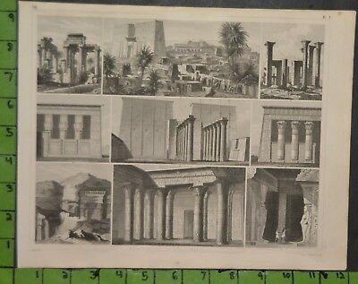 Ancient Egyptian Architecture 1849 Bilder Atlas Engraving -  12x9