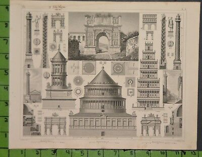 Ancient History Architecture 1849 Bilder Atlas Engraving -  12x9