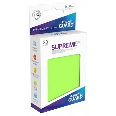 (80) Ultimate Guard SUPREME UX STANDARD Size Card Sleeves - LIGHT GREEN