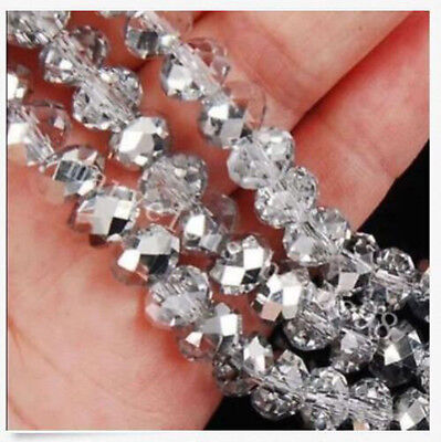 200pcs 4X6mm silvery Crystal Faceted Gems Loose Beads JL0640