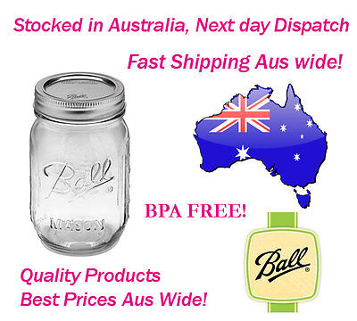 12 Ball Mason Regular Mouth Pint 500ml Jars Preserving Storage Weddings