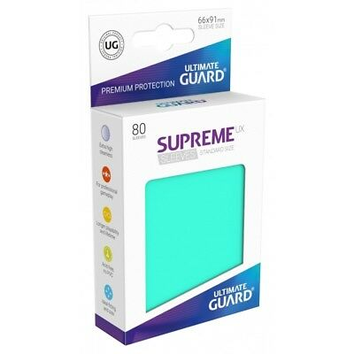 (80) Ultimate Guard SUPREME UX STANDARD Size Card Sleeves - MATTE TURQUOISE BLUE