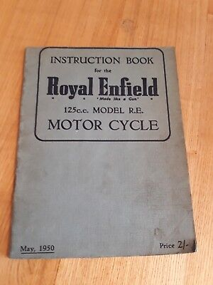 Royal Enfield 125cc Model RE Instruction Book Royal Enfield RE motorcycle 1950