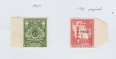 Stamps - Pakistan - 1951 and 1961 overprint - Mint stamps with margins