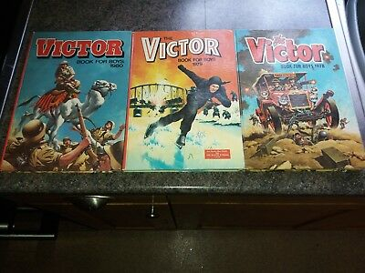 Three Victor Book For Boys Annuals 1978, 1979, 1980 In Very Good Condition.