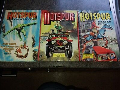 Three Hotspur Book For Boys Annuals 1982, 1983, 1986 In Very Good Condition.