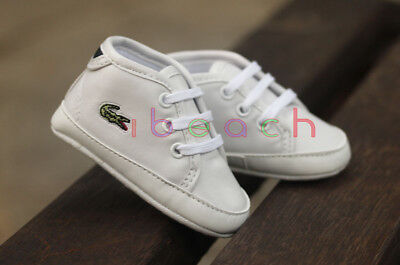 Newborn Baby Boy Girl Pre-Walker White Pram Shoes Soft Sole Trainers 0-18 Months