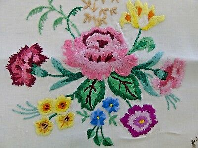 Vintage Hand Embroidered CUSHION COVER...Roses Carnations...... Repaired