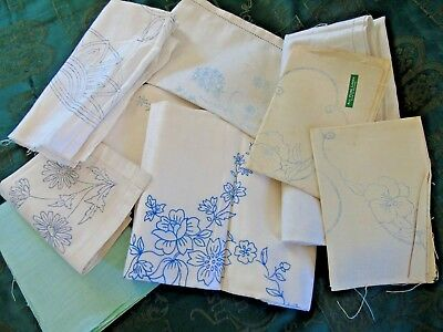 9 (NINE) Vintage Items TO HAND EMBROIDER,Tablecloths,Mats,Crinoline Lady,Flowers
