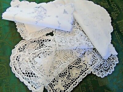 Group of 7 (SEVEN),Vintage/Antique Table Mats/Centres Embroidery/Lace....GC