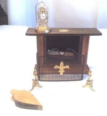 Vintage Miniature Doll House Fireplace and accessories