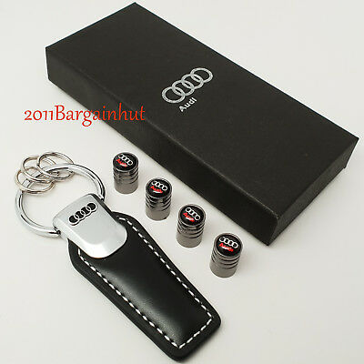 Audi leather & metal key ring with tyre valve dust caps box A1 2 3 4 5 6 7 Q RS