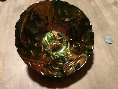 Pressed Art glass bowl rainbow foil colorful candy dish