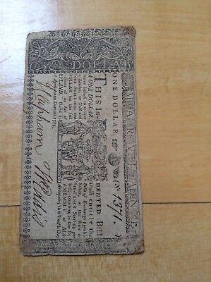 Early Maryland One Dollar Note, 1774