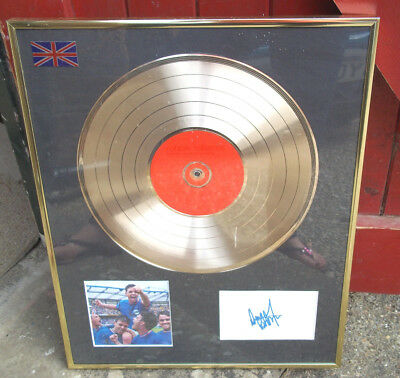 Robbie Williams Sing while your winning  Gold Disc Framed And Signed Picture