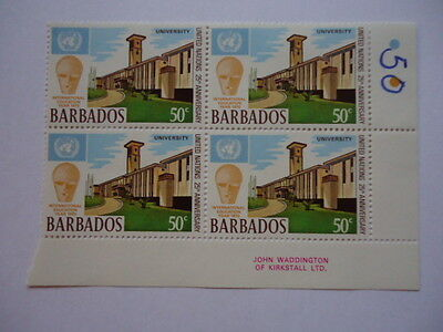 Barbados QEII 1970 SG418 50c Block of 4 MNH 25th Anniv of UN University Building