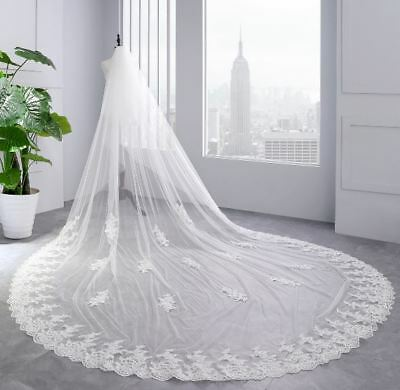 Bridal Wedding lace Veil Cathedral long 2Tier With Comb 3.5M ivory/white
