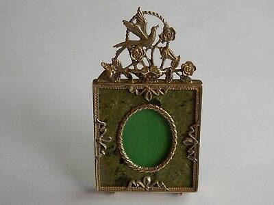 Quality Antique French Miniature Gilt And Marble Easel Photo Picture Frame